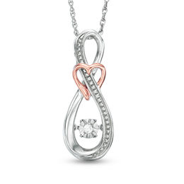 Unstoppable Love™ Diamond Accent Infinity with Heart Pendant in Sterling Silver and 10K Rose Gold