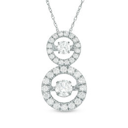Unstoppable Love™ 1 CT. T.W. Diamond Linear Double Circle Pendant in 14K White Gold