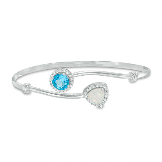 Zales Lab-Created Blue Opal Bangle in Sterling Silver Bz6Ys