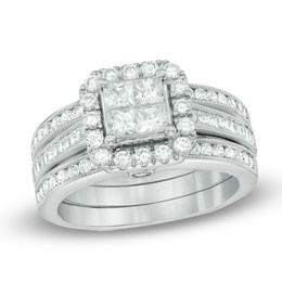 1-1/2 CT. T.W. Quad Princess-Cut Diamond Frame Bridal Set in 14K White Gold