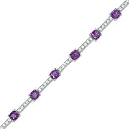 Cushion-Cut African Amethyst and Lab-Created White Sapphire Station Bracelet in Sterling Silver - 7.25""