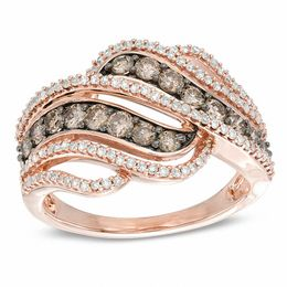 Zales 1/8 CT. T.w. Enhanced Champagne and White Diamond Twist Band in 10K Rose Gold