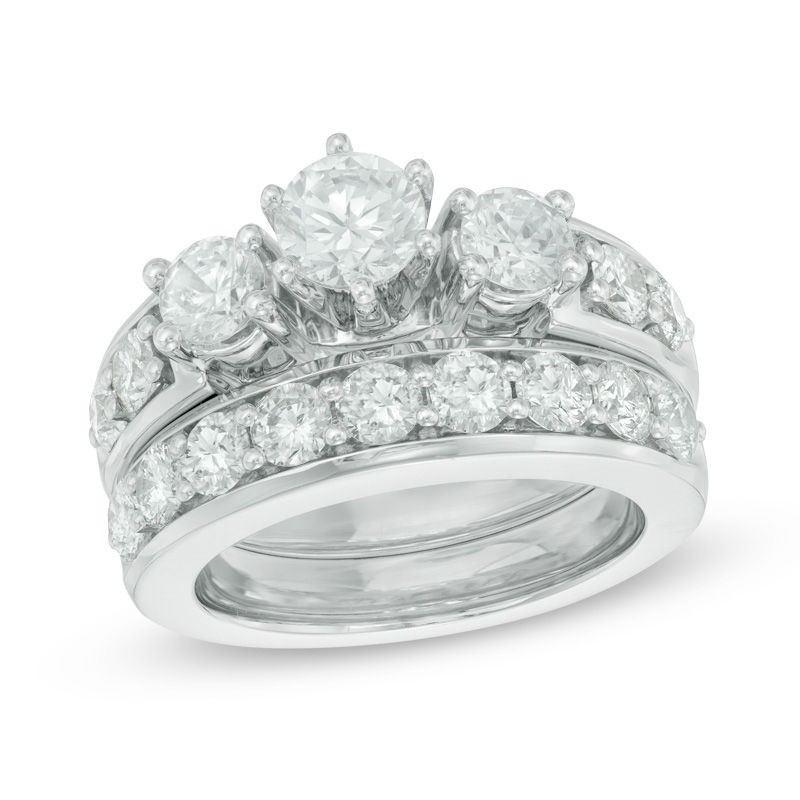 fdd8cea0a5216 2-3/4 CT. T.W. Diamond Past Present Future® Bridal Set in 14K White  Gold|Zales Outlet