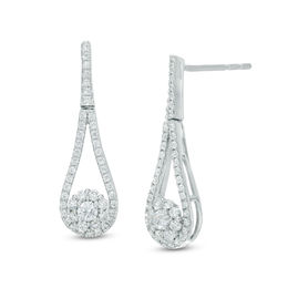 1/2 CT. T.W. Diamond Open Pear-Shaped Frame with Flower Drop Earrings in 10K White Gold