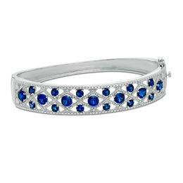 Lab-Created Blue Sapphire and Diamond Accent Woven Bangle in Sterling Silver - 7.25""