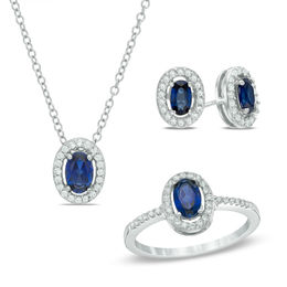 Oval Lab Created Blue And White Shire Frame Pendant Earrings Ring Set In