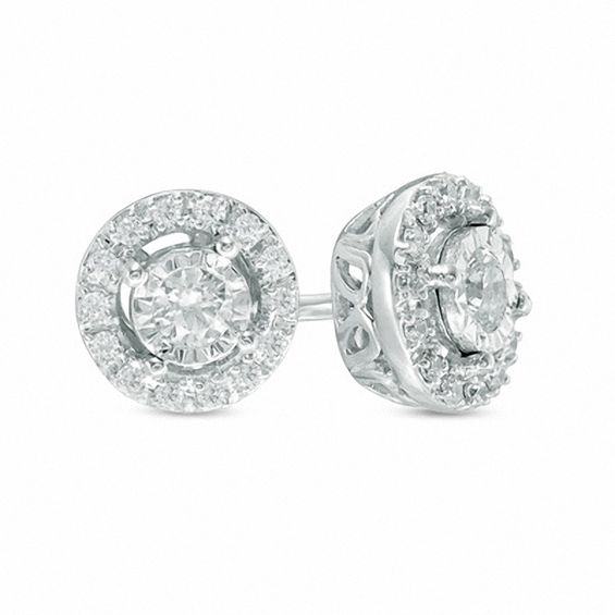 1 4 Ct T W Diamond Frame Circle Stud Earrings In 10k White Gold