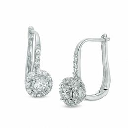 T W Diamond Frame Drop Earrings In 10k White Gold