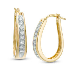1/2 CT. T.W. Diamond Oval Hoop Earrings in 14K Gold