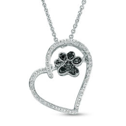 Unstoppable Love™ 1/10 CT. T.W. Enhanced Black and White Diamond Paw in Heart Pendant in Sterling Silver