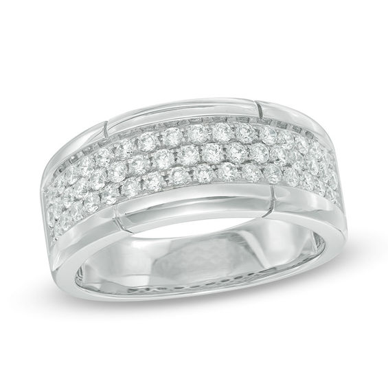 T W Diamond Three Row Wedding Band In 10k White Gold