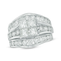 3-3/8 CT. T.W. Quad Princess-Cut Diamond Bridal Set in 14K White Gold