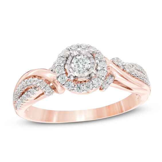 13 CT TW Diamond Frame Bypass Engagement Ring in 10K Rose Gold