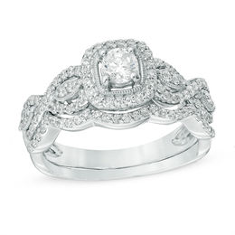 3/4 CT. T.W. Diamond Square Frame Vintage-Style Bridal Set in 10K White Gold