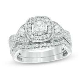 1 CT. T.W. Princess-Cut Diamond Frame Vintage-Style Bridal Set in 14K White Gold