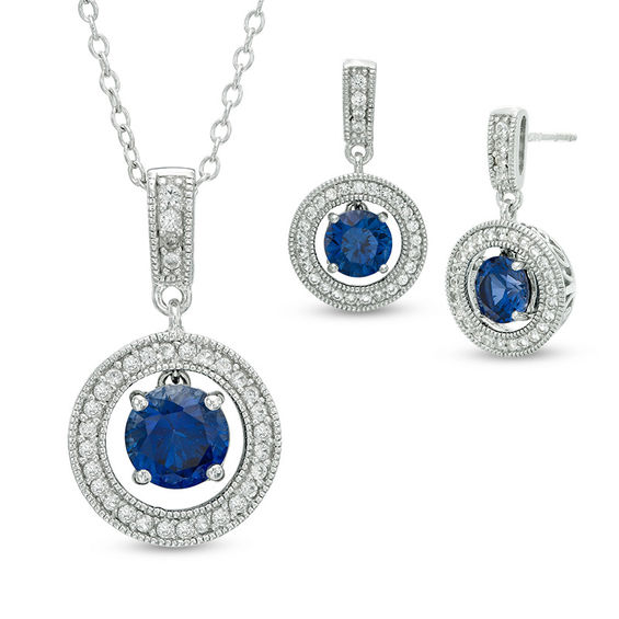 Fine Jewelry Lab-Created Blue Sapphire & White Sapphire Sterling Silver Earrings 6phbkHP