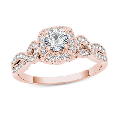 Rose Gold Wedding Ring.1 2 Ct T W Diamond Square Frame Vintage Style Engagement Ring In 14k Rose Gold Zales Outlet