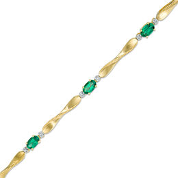 Emerald and Diamond Accent Station Bracelet in Sterling Silver and 14K Gold Plate - 7.25""