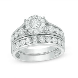 1/2 CT. T.W. Diamond Frame Bridal Set in 10K White Gold