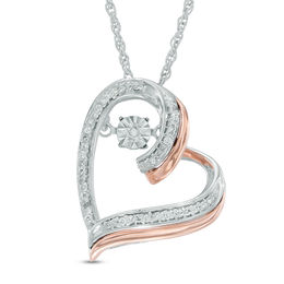 Unstoppable Love™ Diamond Accent Tilted Heart Pendant in Sterling Silver and 10K Rose Gold