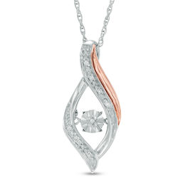 Unstoppable Love™ Diamond Accent Open Flame Pendant in Sterling Silver and 10K Rose Gold