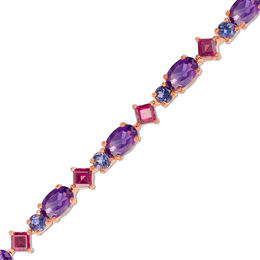 Oval Amethyst, Princess-Cut Rhodolite and Iolite Bracelet in Sterling Silver with 14K Rose Gold Plate - 7.25""