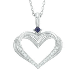 The Kindred Heart from Vera Wang Love Collection Diamond Accent and Blue Sapphire Pendant in Sterling Silver