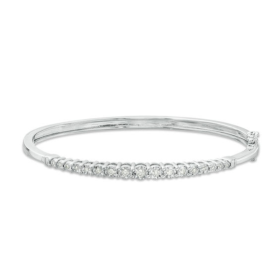 1 4 Ct T W Diamond Graduated Bangle In Sterling Silver