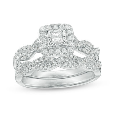 fbada375ccf 5/8 CT. T.W. Princess-Cut Diamond Frame Twist Bridal Set in 10K White  Gold|Zales Outlet