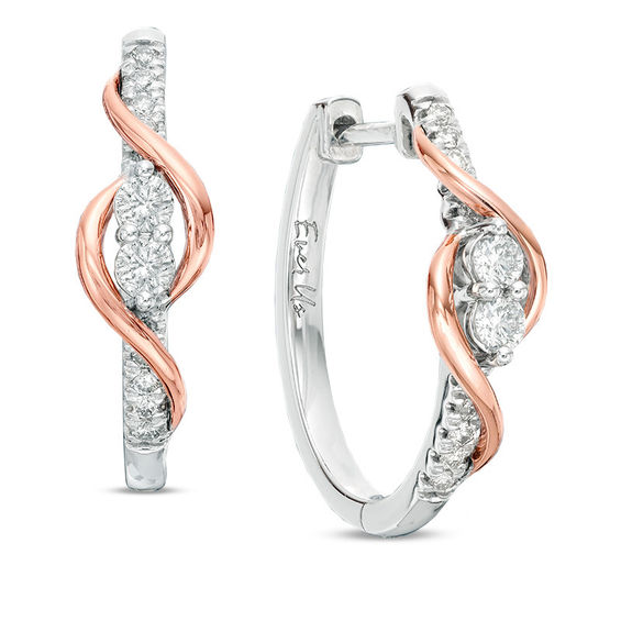 T W Two Stone Diamond Linear Swirl Earrings