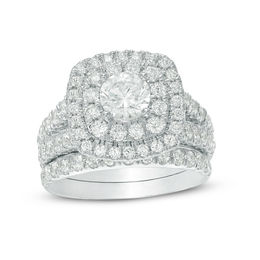 2-1/2 CT. T.W. Certified Canadian Diamond Double Cushion Frame Bridal Set in 14K White Gold (I/I2)