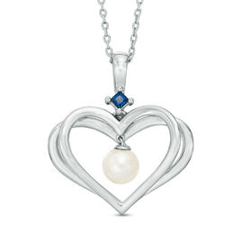 The Kindred Heart from Vera Wang Love Collection Cultured Freshwater Pearl and Sapphire Pendant in Sterling Silver
