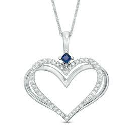 The Kindred Heart from Vera Wang Love Collection 1/3 CT. T.W. Diamond and Sapphire Pendant in 14K White Gold - 19""