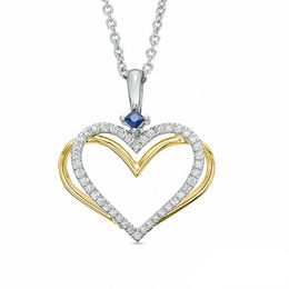 The Kindred Heart from Vera Wang Love Collection Diamond and Sapphire Pendant in Sterling Silver and 14K Gold - 19""