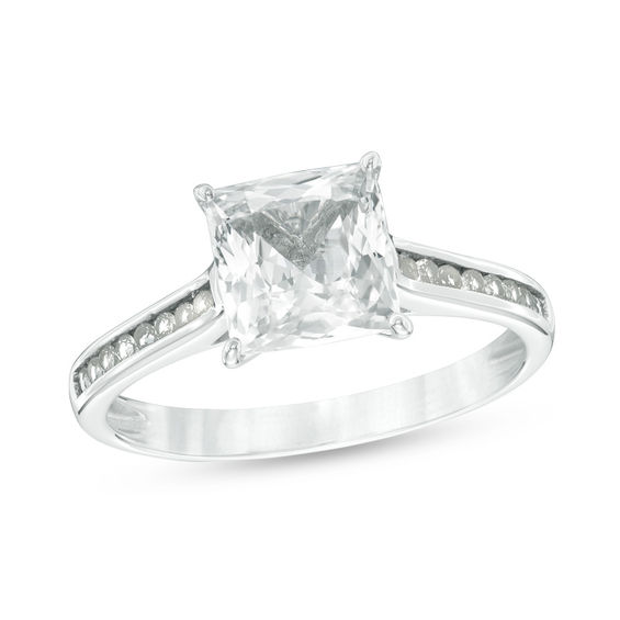 7 0mm Princess-Cut Lab-Created White Sapphire Engagement Ring in 10K White  Gold|Zales Outlet