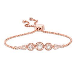 Zales Morganite and Lab-Created White Sapphire Frame Bolo Bracelet in Sterling Silver with 18K Rose Gold Plate - 9.0 D9wN16i