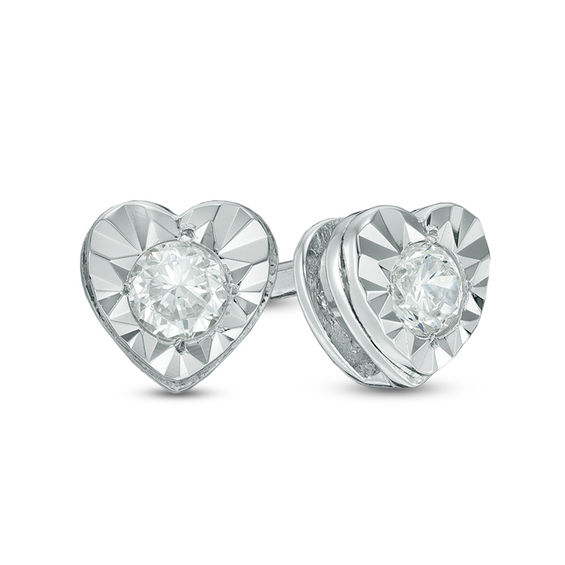 T W Diamond Heart Solitaire Stud Earrings In Sterling Silver