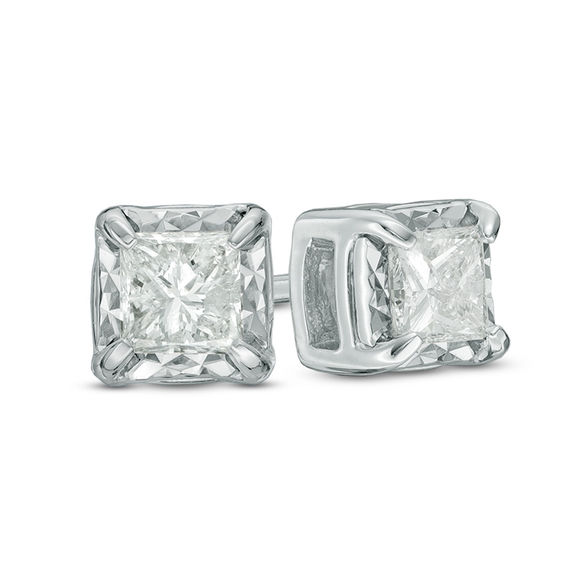 1 2 Ct T W Princess Cut Diamond Solitaire Stud Earrings In 10k White