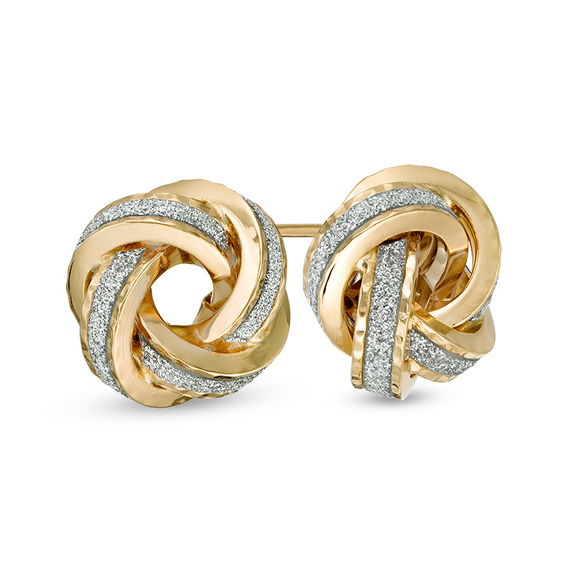 Made In Italy Glitter Enamel Love Knot Stud Earrings 14k Gold