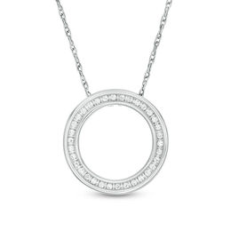 1/20 CT. T.W. Diamond Circle Outline Pendant in 10K White Gold