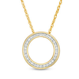 1/20 CT. T.W. Diamond Circle Outline Pendant in 10K Gold