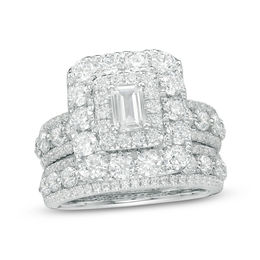 4 CT. T.W. Certified Emerald-Cut Diamond Double Frame Multi-Row Bridal Set in 14K White Gold (I/I1)