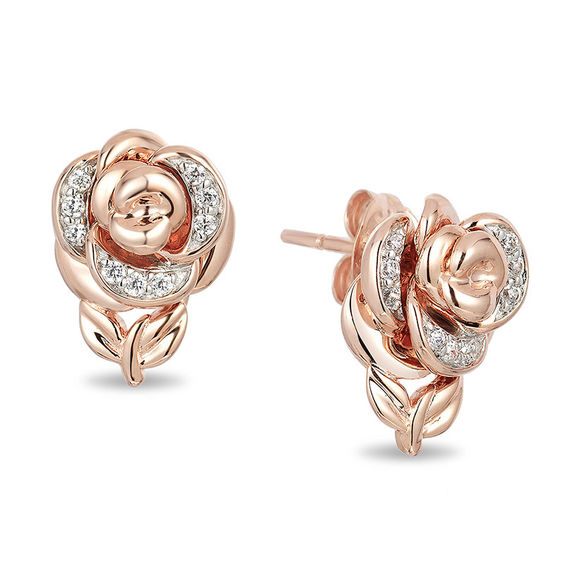 Enchanted Disney Belle 1 10 Ct T W Diamond Rose Stud