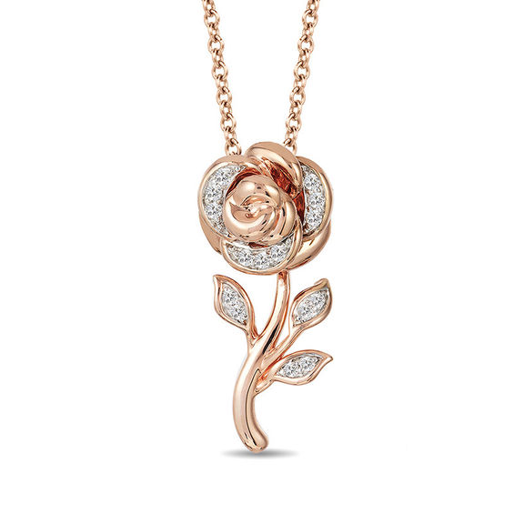 Enchanted Disney Belle 1 10 Ct T W Diamond Rose Pendant
