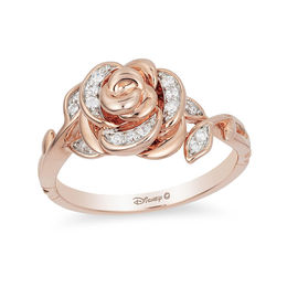 Enchanted Disney Belle 1/10 CT. T.W. Diamond Rose Ring in 10K Rose Gold