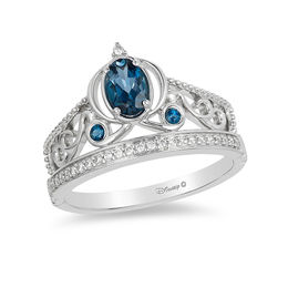 Enchanted Disney Cinderella Oval London Blue Topaz and 1/10 CT. T.W. Diamond Carriage Ring in Sterling Silver - Size 7