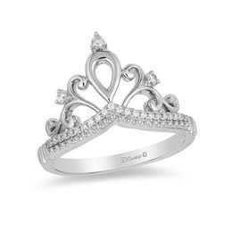 Enchanted Disney Princess 1/10 CT. T.W. Diamond Tiara Ring in Sterling Silver - Size 7
