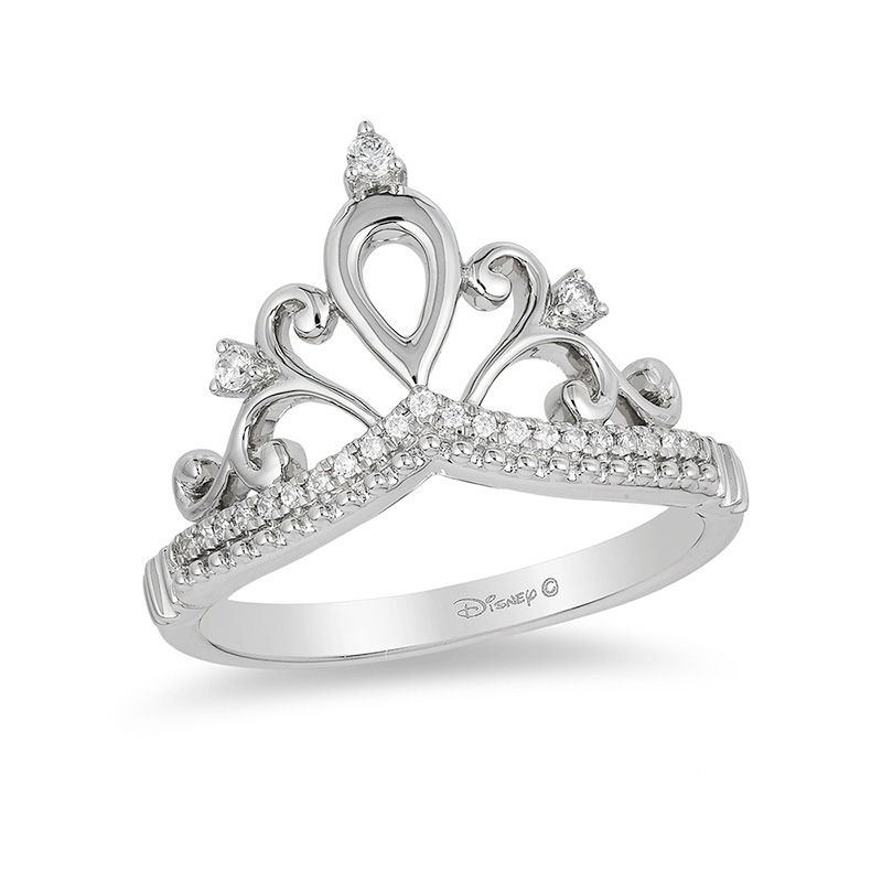 disney engagement white bow snow enchanted ds s ring size jewelry diamond fine tiara rings