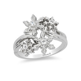Enchanted Disney Elsa 1/10 CT. T.W. Diamond Snowflake Ring in Sterling Silver - Size 7