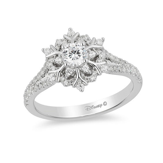 enchanted disney elsa 5 8 ct t w snowflake engagement ring in 14k